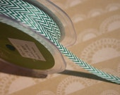 "Chevron Striped Twill - Dark Green and White Striped Trim - May Arts Ribbons - 1/4"" - 6 Yards - Easter Trim"