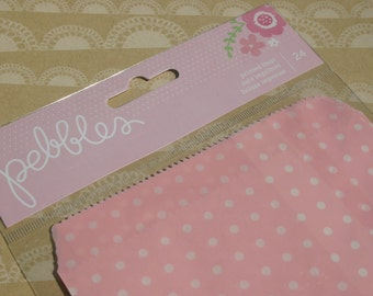 Pebbles Printed Party Bags - Pink Polka Dot - 24 Bags - One Package
