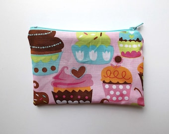 Zippered Snack Bag - Kids Snack Bag - Pink Cupcakes - Lunch Pouch