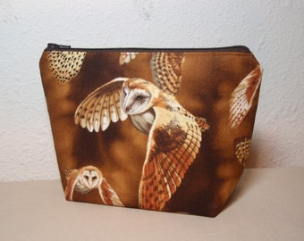 Brown Barn Owls - Cotton Cosmetic Zipper Pouch