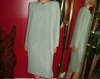 Vintage Pale Green  Flapper Dress Embroidery  Size 10