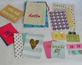 Planner Goodies, project life cards, sticky notes, paper clips, pens, washi tape