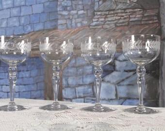 Glastonbury Lotus Wine champagne Glass Laurel Wreath Stem #37 Cut Dots,Gray Cut Laurel Set of 4 37-9 vintage Wedding Toast