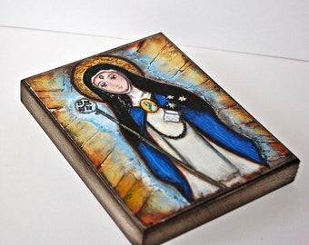 Saint Beatrice -  Giclee print mounted on Wood (4 x 5 inches) Folk Art  by FLOR LARIOS