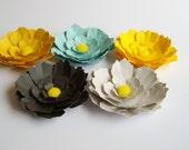 5 Summer Rain flowers, wedding decoration, party decoration, paper flowers, artifical flowers, scrapbook embellishment, paper flower