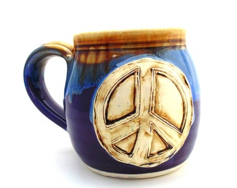 Handmade Pottery Mug Peace Sign purple Ceramics and Pottery by Jewel Pottery
