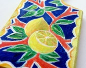 LEMONS Bread Board - Lemons Painting -  Kitchen Decore - Fruit Art