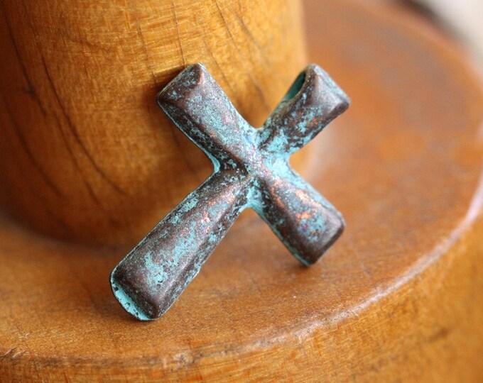 DECO CROSS No. 56 .. 2 Mykonos Greek Cross Charm Beads 21x16mm (M56-2)