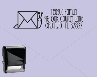 FREE US SHIPPING * Self Inking Return Address Stamp * Custom Address Rubber Stamp (E404) Snail Mail