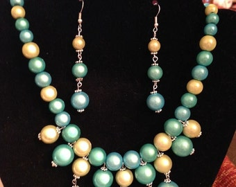 Bib Necklace Set in Blue, Teal, and Green