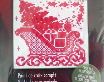 Bucilla Plaid Counted Cross Stitch Kit, Santa's Sleigh