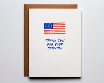 Thank You For Your Service - Letterpress Thank You Card - CT223