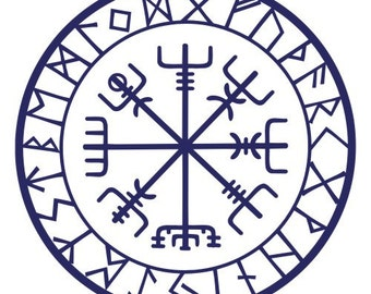 Viking protection runes vegvisir compass talisman blue vinyl decal