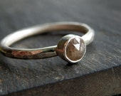 Custom rose cut diamond ring / conflict free diamond / diamond ring / gray diamond ring / rose cut wedding ring / engagement ring / wedding
