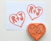 initials hand carved rubber stamp, handmade rubber stamp