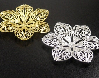 Pendant Blank 6 Pendant Tray Antique Silver or Gold CHOICE Victorian Flower Bendable Tray Pad 42mm 6 Point (1043cap42s1)