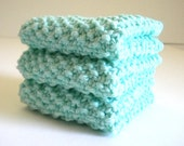 SALE / Mint Green Dish Cloth / Knit Dish Cloth / Knit Wash Rag / Retro Knit Dish Rag / Knitted Cloth / under 10 gift