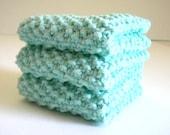 Mint Green Dish Cloth / Knit Dish Cloth / Cotton Dish Rag / Knit Wash Rag / Retro Knit Dish Rag / Knitted Cloth / under 10 gift