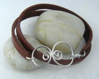 DOODLE WRAP BRACELET with handmade swirl centerpiece sterling silver leather wrap bracelet