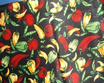 Yellow Pepper Tomatoes Beans Bell Peppers Fabric BTY