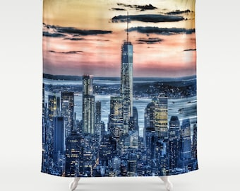 New York Manhattan Landscape .Shower Curtain urban sunset modern home bathroom photography city night sky dreamy noir trend skyscrapers