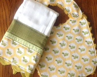Classic Turtle Bib and Burp Cloth Set - LAST ONE
