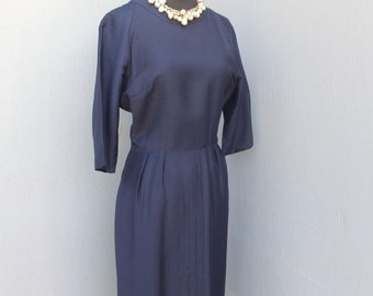 1950s Navy Blue SILK Dress / Wiggle Dress /  Pencil Dress