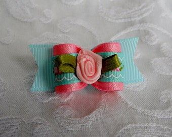 "5/8"" Pink and Blue Garden Dog Bow"