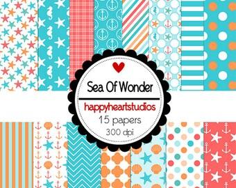 Digital Scrapbook  SeaofWonder -INSTANT DOWNLOAD