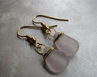 Amethyst Sea Glass Earrings - Wire Wrapped - Gold Wire Dangle Earrings