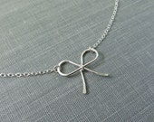 Sterling Silver Dainty Bow Necklace - Simple Modern Minimal Wire Jewelry
