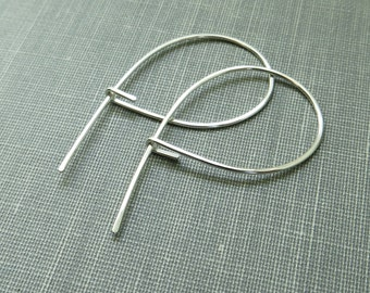 Sterling Silver Hoop Earrings - Petite Balloons - 1.5 Inch - Hammered - Thin and Dainty - Simple Modern Minimal Wire Jewelry