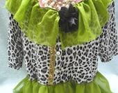 50% OFF - SWEATER Cardigan Cropped Altered Clothing Boho - Sweater Make Over - Kiwi and Black Animal Print