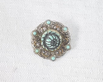 60s 70s Vintage Simulated Turquoise and Silver Rose Brooch