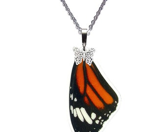Real Butterfly Wing Necklace (Danaus Genutia - Monarch Forewing - N042)