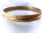 Vintage Gold Bangle Bracelet . Stippled Textured & Engraving . Sparkling Gold or Gold Filled