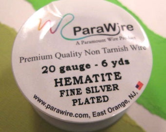 Hematite Fine Silver Plated - 20 Gauge Wire from ParaWire - 6 Yard Spool