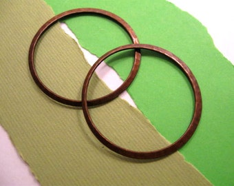 Large Hammered Rings from Trinity Brass in Vintage Patina - 2 Count