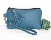 small recycled blue leather clutch, wristlet, phone wallet, purse, tassel, make up bag, handmade, upcycled, repurposed, stacylynnc