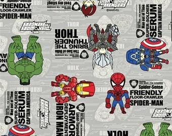 Licensed fabric by ©Marvel Avengers Japanese fabric 50 cm by  106  cm or 19.6 by 42  inches Half meter nc55