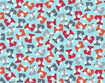 One (1) Yard - Urban Zoologie Minis Fox Pups Robert Kaufman Fabric AAK-15307-63 SKY