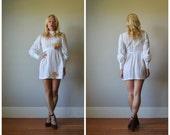 1970s Eyelet Summer Mini Dress~Size Extra Small