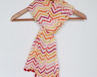 Chevron Scarf Lightweight scarf Pink Scarf Summer Scarf Pompom Fringe