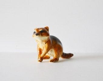 Goebel Raccoon Animal Figurine Vintage Raccoon Porcelain Raccoon West Germany