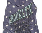 Women's Tank Top - Navy Stars Brooklyn Racerback Indigo Singlet Sleeveless Blue Vintage Retro Tank Woman's Industrial Sign NYC Old Signage