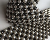 VERA Rhinestone  Banding, Trim / Black  Crystal and Pearl w/ Silver Backing / 5 Rows, 1 yard