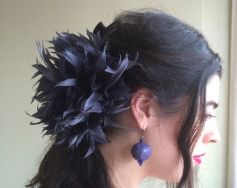FLEUR de PLUME,  Vogue Goose feather fascinator, Dark Grey, Charcoal  / FDP - 06