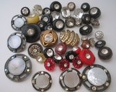 Buttons lot Rhinestone buttons Sewing supplies Craft supplies Variety rhinestone button lot of 45