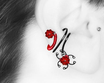 Red Swarovski Crystal Ear Cuff, No Piercing, Biohazard Jewelry, Crystal Cuff, Cartilage Earring, Industrial Jewelry, Biohazard Red III v8