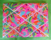 New memo board made with Lilly Pulitzer Lulu by Garnet Hill fabric